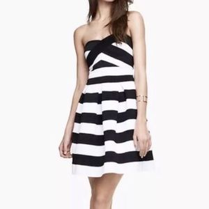 Express striped a-line stretchy cocktail dress